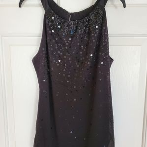 Ann Taylor Halter Sequin and Beaded Top Black